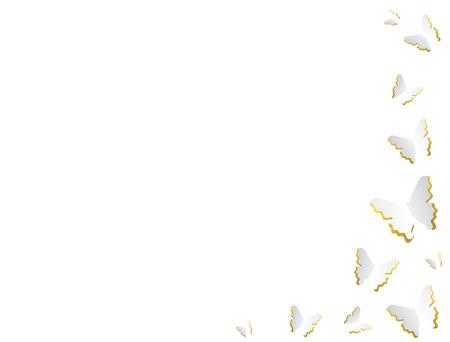 Delicate white with golden tint butterflies border element designs.