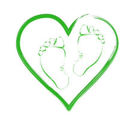 Favorite baby legs on the background of the heart. The concept of love, protection and motherhood. Children Protection Day.