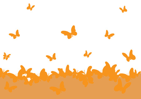 The sea of ​​butterflies taking off into the sky merry background. Иллюстрация