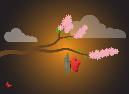 The spring background of nature is a cherry branch, a cocoon (chrysalis) and butterflies at sunrise.Cocoon, metamorphosis, insect Vettoriali