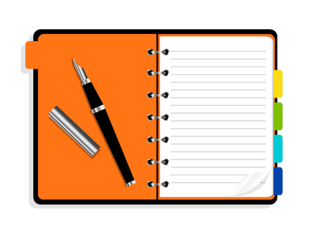 Open notebook with spiral and bookmarks. Organizer icon illustration.