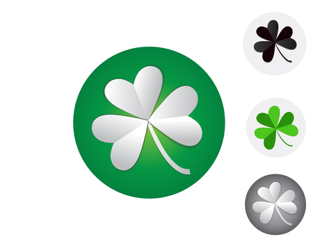 Three leaf clover isolated on white, vector illustration for St. Patricks day.