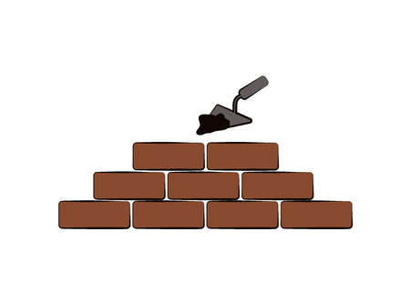 Vector design of building. Bricks, tools and cement.