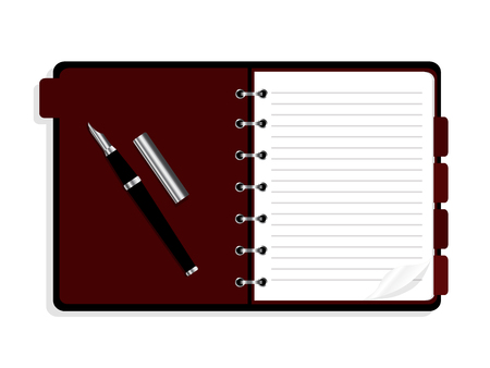 Open notebook with spiral and bookmarks. organiser icon. Illustration