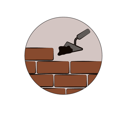 bricks, tools and cement building design Vector illustration.