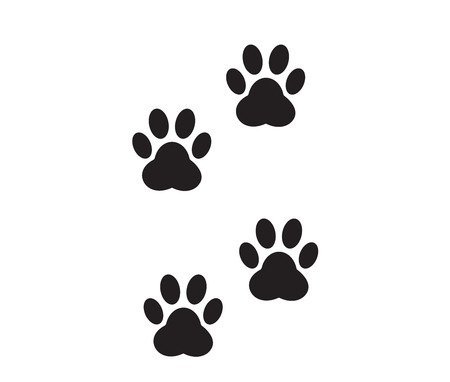 A pair of traces from the paws (imprint) of a wild animal. 向量圖像