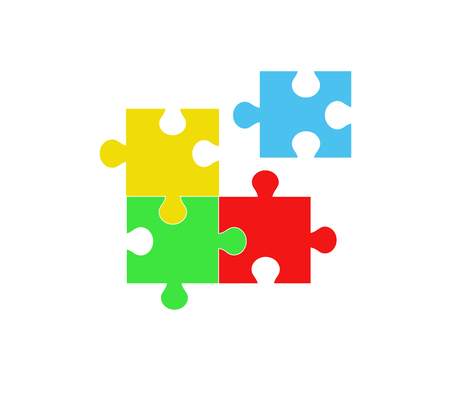 Pieces of puzzles forming into a single corporation, merger, affiliation. Business and construction.