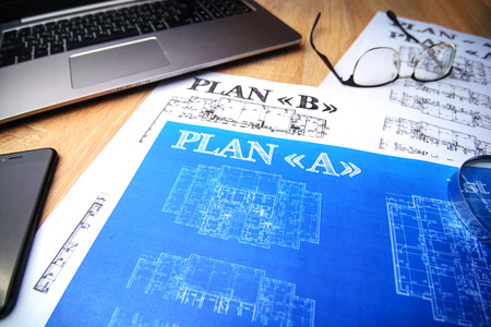 Architectural blueprints - paper, drawings, pencil, plan, layout, ruler, calculator, compasses