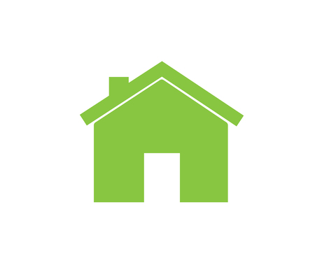 House icon, home symbol, flat design template, eco green vector illustration Illustration