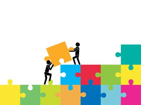 Kooperation. Zusammenarbeit.Geschäftsleute, die Puzzle schieben und zusammenbauen.