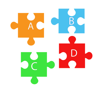 Elements necessary for health - vitamin A, B, C, D in the form of puzzle pieces.