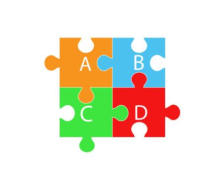 Éléments nécessaires à la santé - vitamine A, B, C, D sous forme de pièces de puzzle. Vecteurs