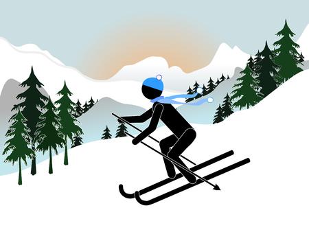 Flat design of man skiing icon. Vector illustration.