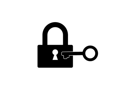 Flat vector icon of lock with key.