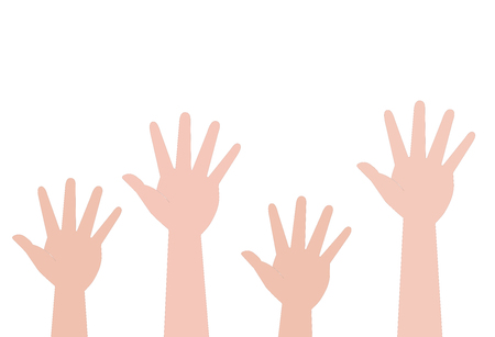 Hands of different countries folded together. Team, support, care, corporation. Business and success. Illustration