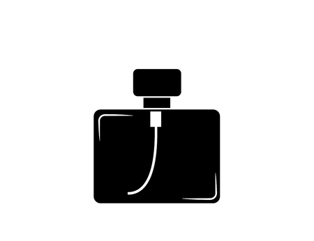 Bottle of male perfume. Icon, symbol, silhouette. Isolated vector image.