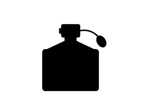 Bottle of womens perfume. Icon, symbol, silhouette. Isolated vector image.