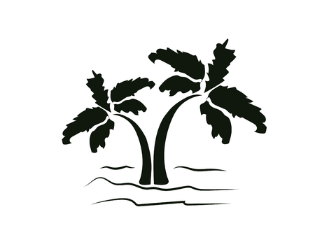 Vector illustration of palm trees. Rest, travel. Icon, silhouette. Illustration