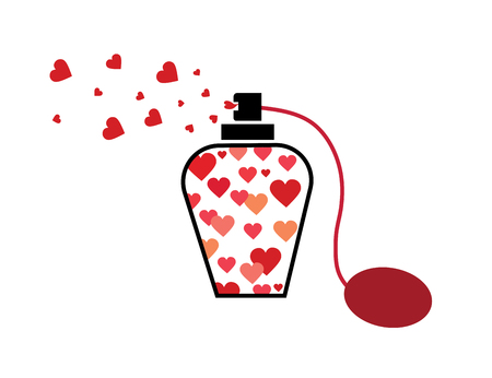Love potion vector icon. Romantic concept web design. Flask with hearts simple solid icon. Perfume, symbol, logo illustration.