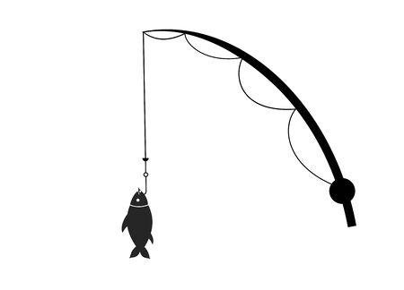 Flat black icon of fishing rods and fish on the hook, catch, hobby, sport, passion. Fishing and recreation.