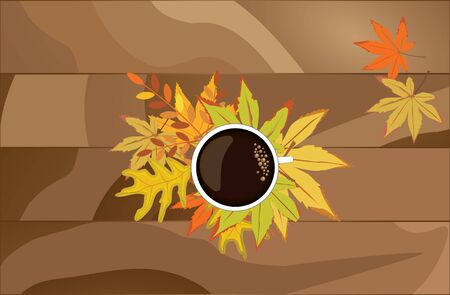 A mug of hot coffee and autumn leaves on a wooden background.