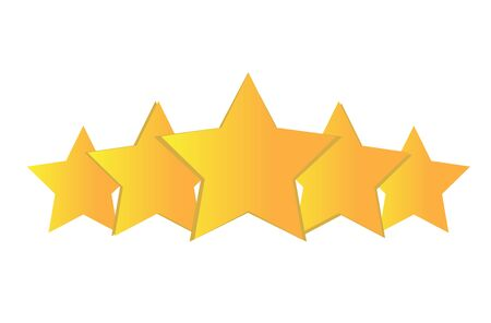 Five stars customer review rating flat icon for apps and websites Illustration