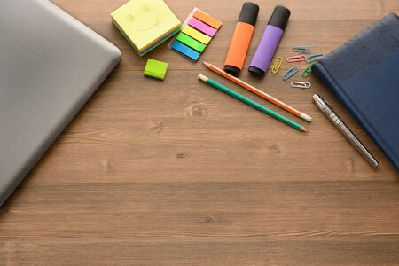 Note: pencils, markers, a pen, a notebook, paper, notes, a notebook Stock Photo