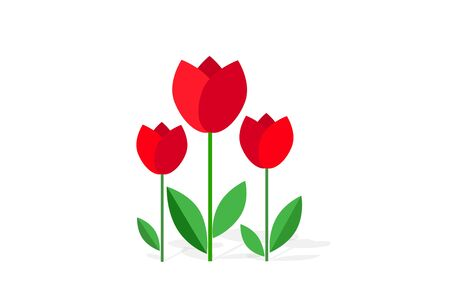 Bouquet of flowers (tulips) isolated on white background. Flat icon. 8 March. Womens spring day .;