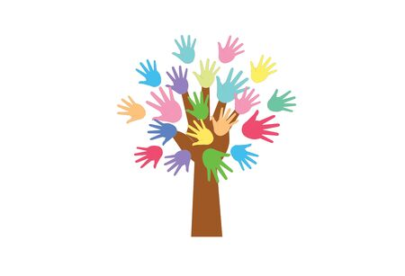 A tree of colored hands instead of leaves. The concept of goodness, help, support.