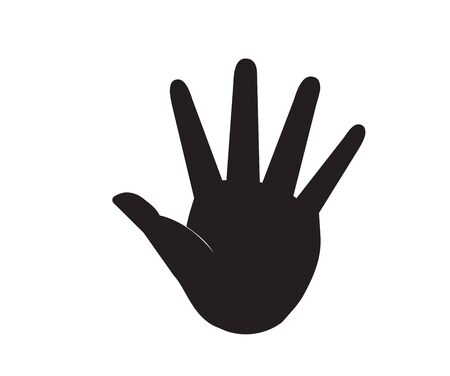 Flat black econ hands (arm, palm). Vector illustration.