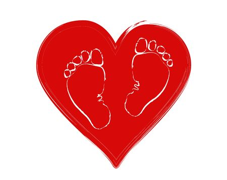 Favorite baby legs (girls and boy) on the background of the heart. The concept of love, protection and motherhood. Children Protection Day.