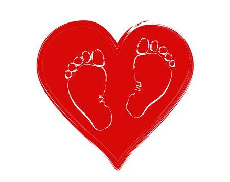 Piernas de bebé favoritas (niñas y niños) en el fondo del corazón. El concepto de amor, protección y maternidad. Día de la Protección de los Niños.