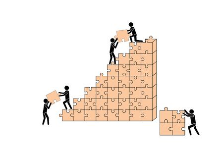 People (workers) build a house out of puzzle pieces. Teamwork. Business and construction.