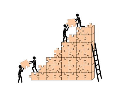 People (workers) build a house out of puzzle pieces. Teamwork. Business and construction. Banco de Imagens - 128426275