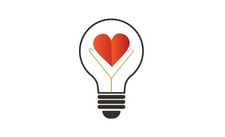 Lamp with a heart. The concept of love. Vector illustration. Icon.