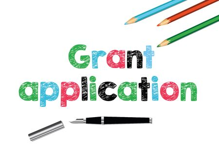 The words grant application painted by children's crayons. Art, financing.