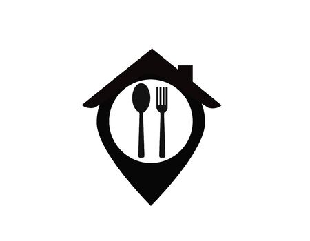 Pointer on a map of a restaurant. Food Vetor icon. Stock Vector - 129002887