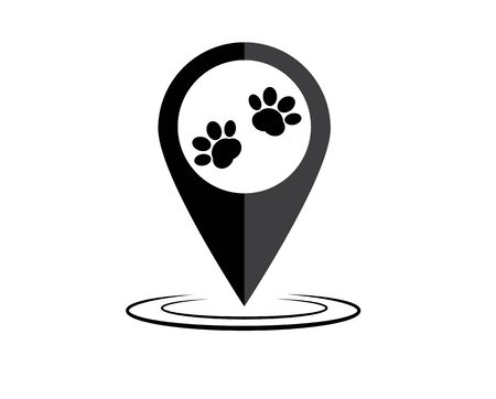 paw and location mark, pet shop sign on white