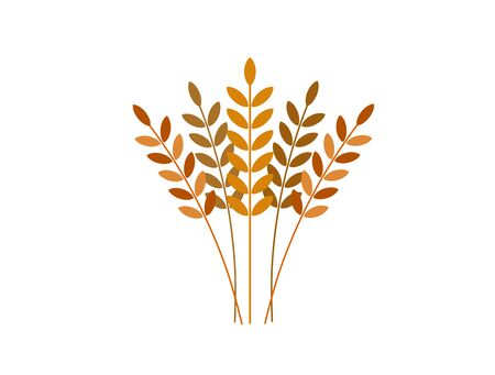 Sprouts in wheat grains (bread). Nature and food. Vector illustration. Icon.