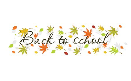 Calligraphic hand written text back to school and colored autumn leaves isolated on white background.