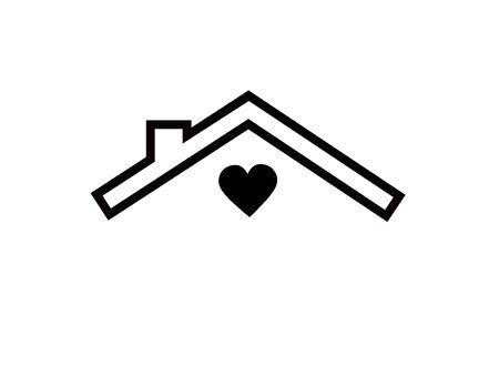 House icon with heart silhouette.