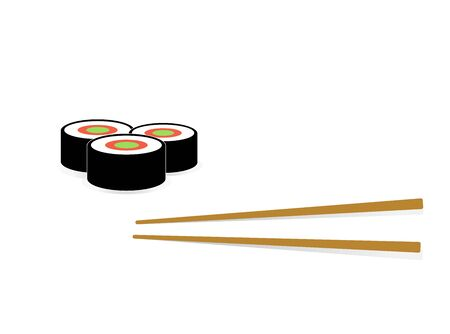 Sushi and roll with chopsticks on white background,  template. Monochrome Japanese cuisine.