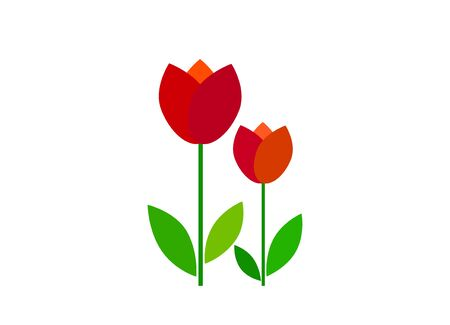 Vector flat tulip icon (flower) isolated on white background. Spring, mother's day, March 8th.