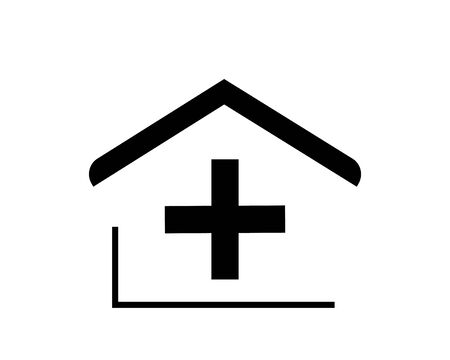 Flat design icons of the house with a cross, a roof (hospital). Vector.