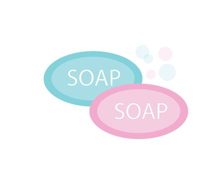 Soap bar icon with foam. Vector image.
