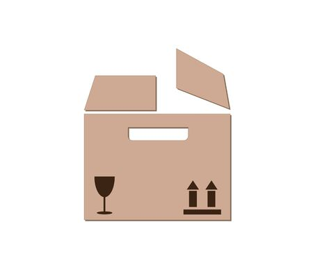 Open box vector icon. Delivery, package. Ilustração