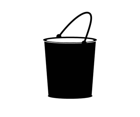 Vector flat black bucket icon. Cleaning.
