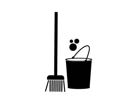 Vector flat black icon of a broom (mop), bucket and bubbles. Cleanliness and cleaning. Illustration