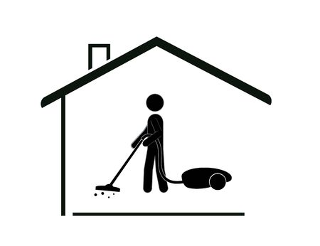 A man with a vacuum cleaner does the cleaning of the house. Cleanliness and health. Ilustração