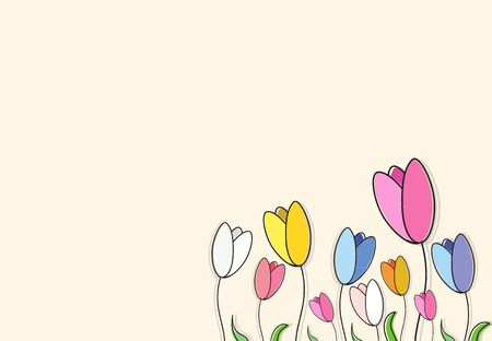 Colorful card of flowers (tulips) and petals. Vector illustration. Illustration